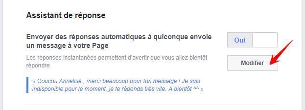 modifier la réponse automatique page fan facebook