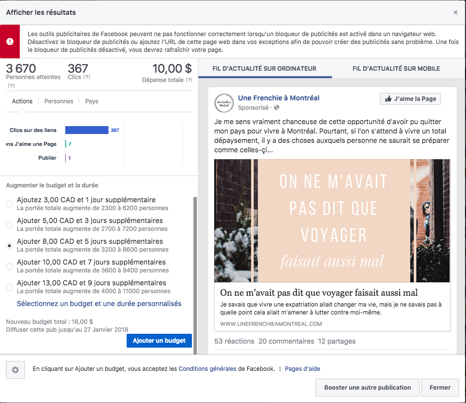 resultat boost de publication facebook page fan une frenchie a montreal
