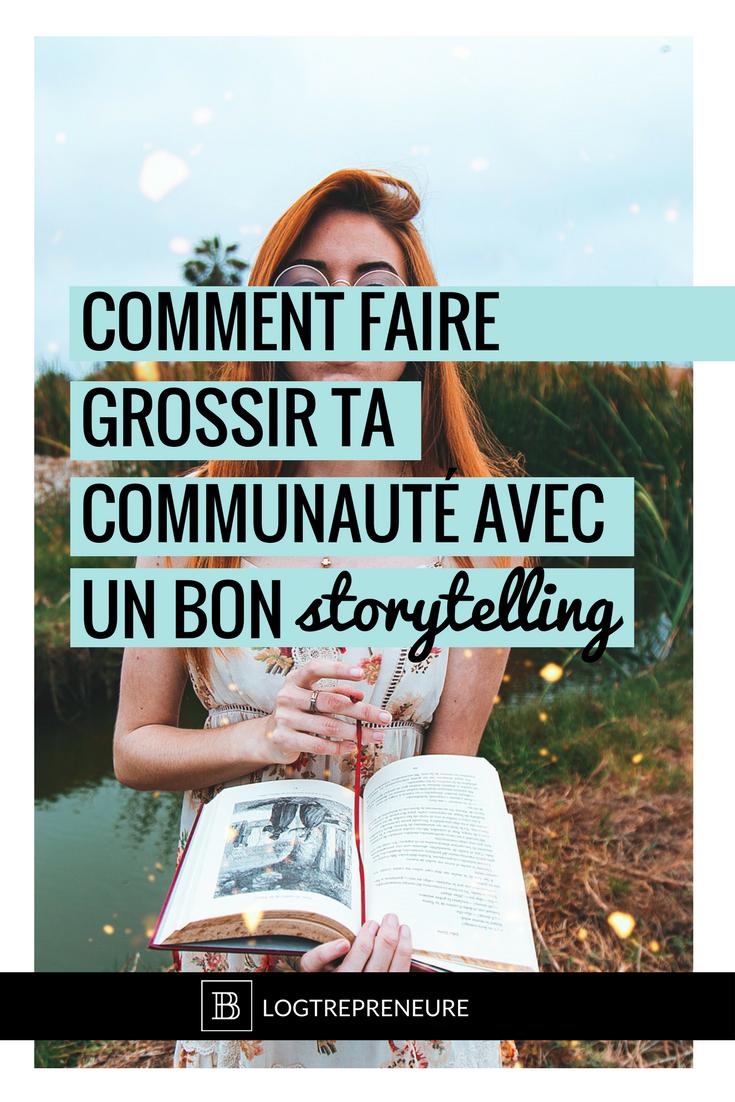 femme qui lit un livre ouvert avec le titre suivant en surimpression : comment faire grossir ta communauté avec un bon storytelling