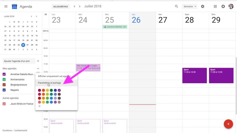 paramètre et partage google calendar