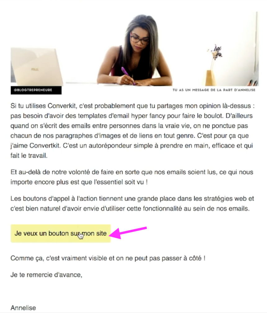 ajouter bouton email convertkit
