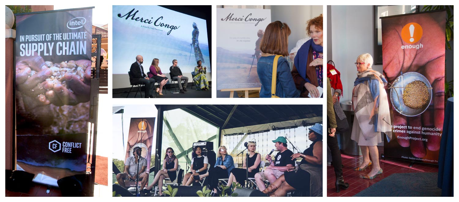 Clockwise from far left: Intel Conflict-Free banner outside a screening; on-screen poster adaptation during panel discussion; Merci Congo poster at a screening reception; Enough Project banner at a screening reception;  Enough Banner on-stage during Bonnaroo Q&A with filmmakers