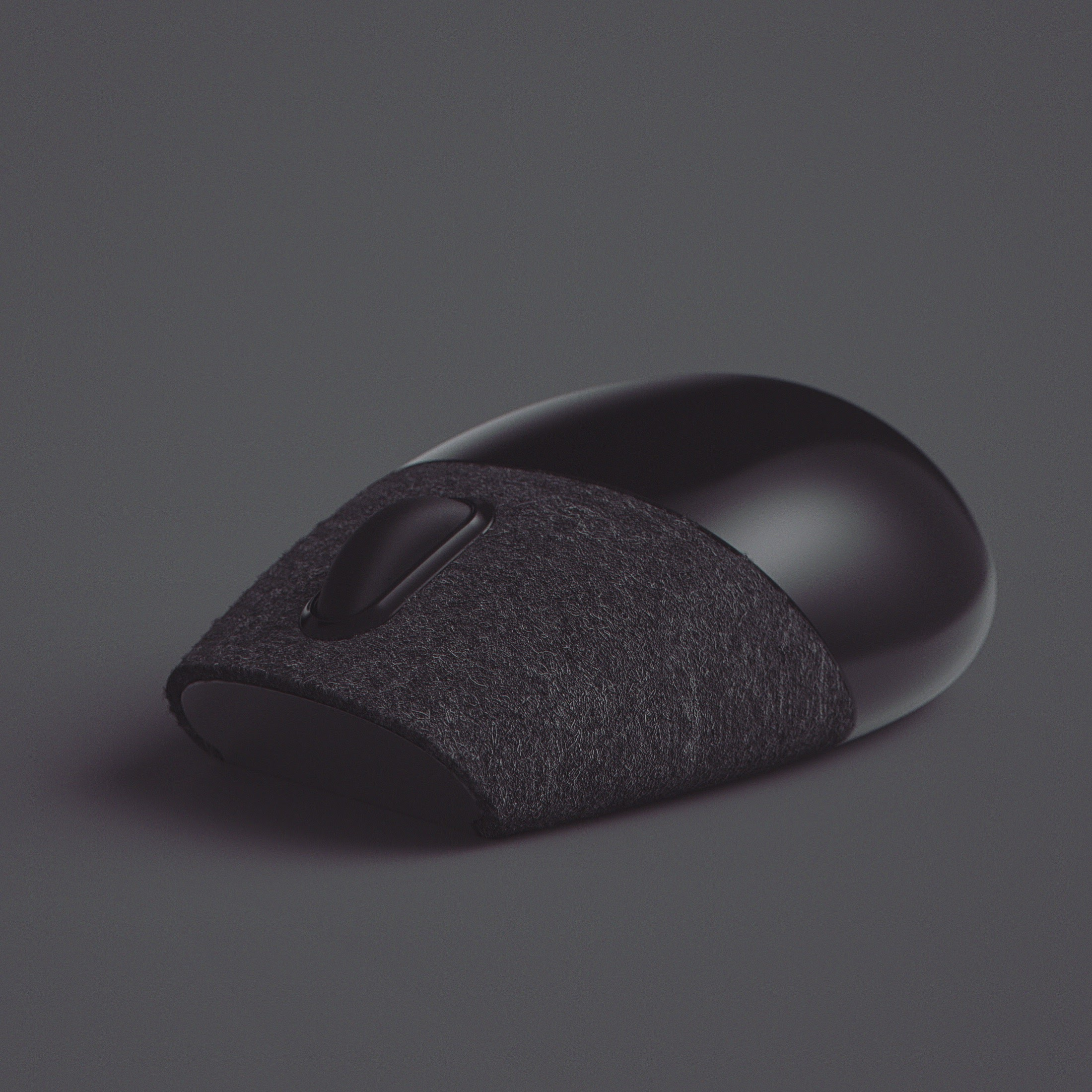 felt covered mouse hides buttons and adds intimacy