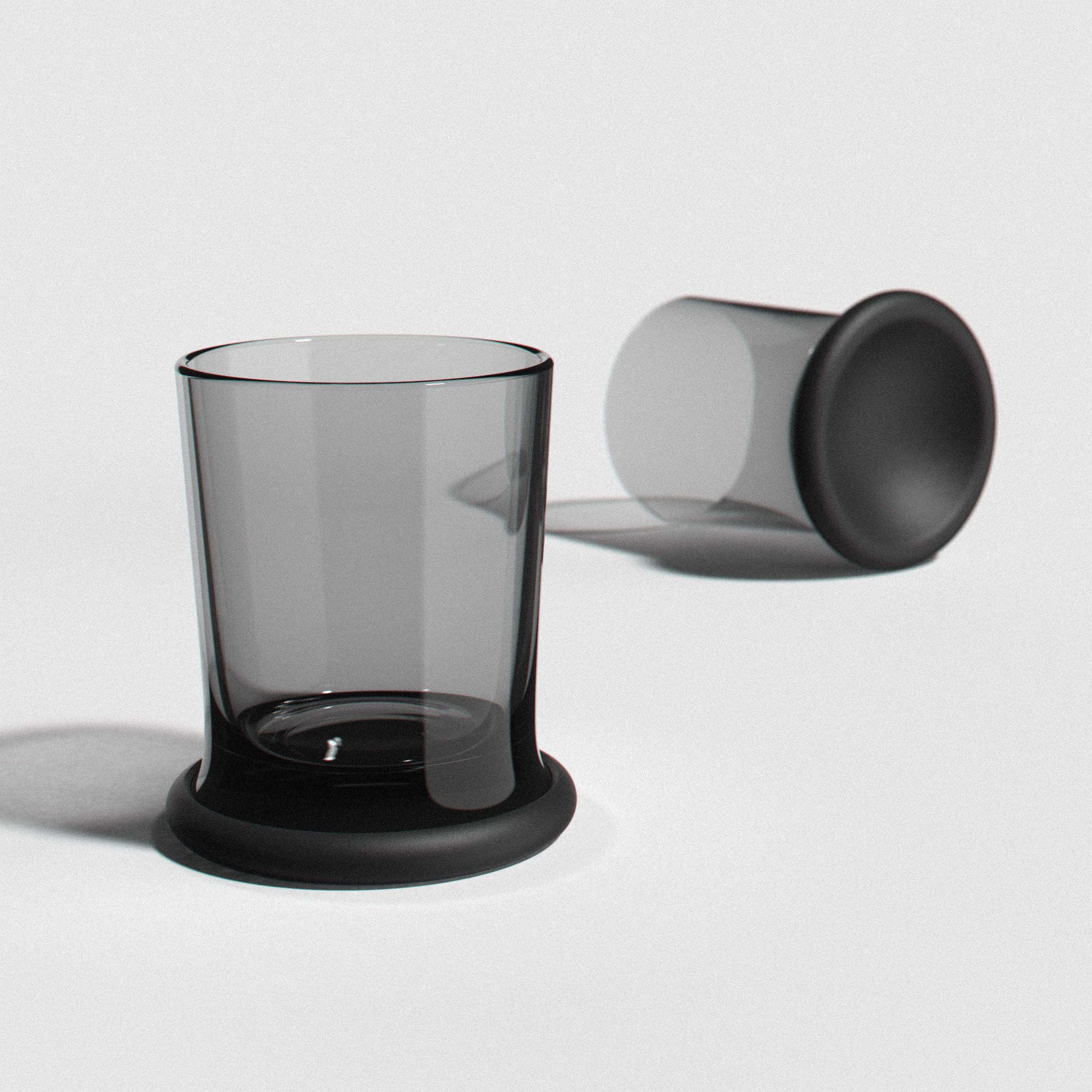 glassware with silicone base that doubles as a lid/dish