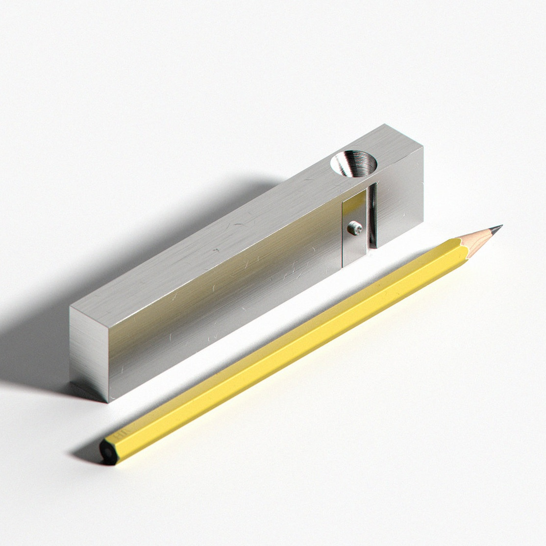 milled steel block pencil sharpener