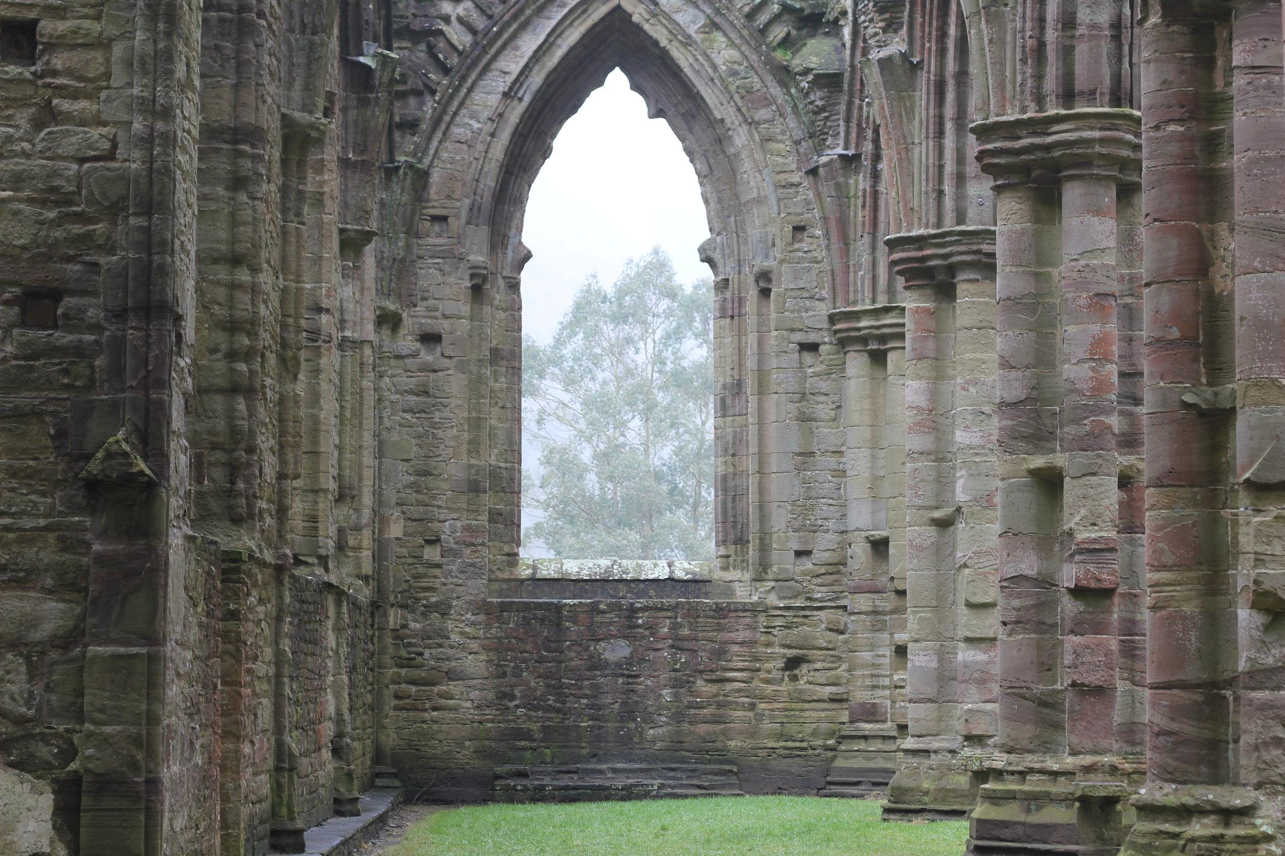 Inside the Welsh Tintern Abbey ruins...