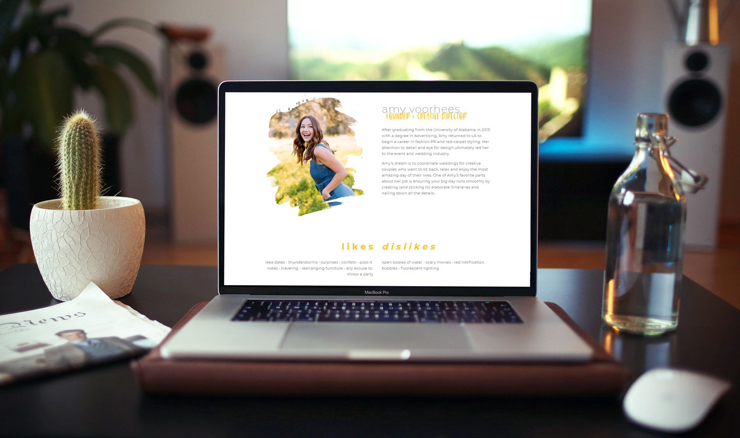 "Above:    Amy Rose Events ""About"" page gives clients more details about founder Amy Voorhees, her journey, and her work style."