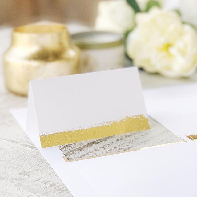 Real foil is here!!! Use our new foil pressed place card paper to create real foil place cards at home for less than 45 cents a card.  #weddingideas #diywedding