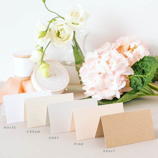 Colors are here!!! We are so excited to launch our place card paper in a new heavier stock that is both INKJET and LASER compatible, and comes in 5 new colors: White, Cream, Light Gray, Blush Pink, and Kraft.
