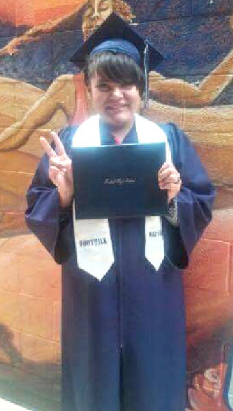 Tobi Lynn Stanfill, 17, at her high school graduation from Camino Nuevo Youth Center. (Courtesy of Rebecca Christopher)