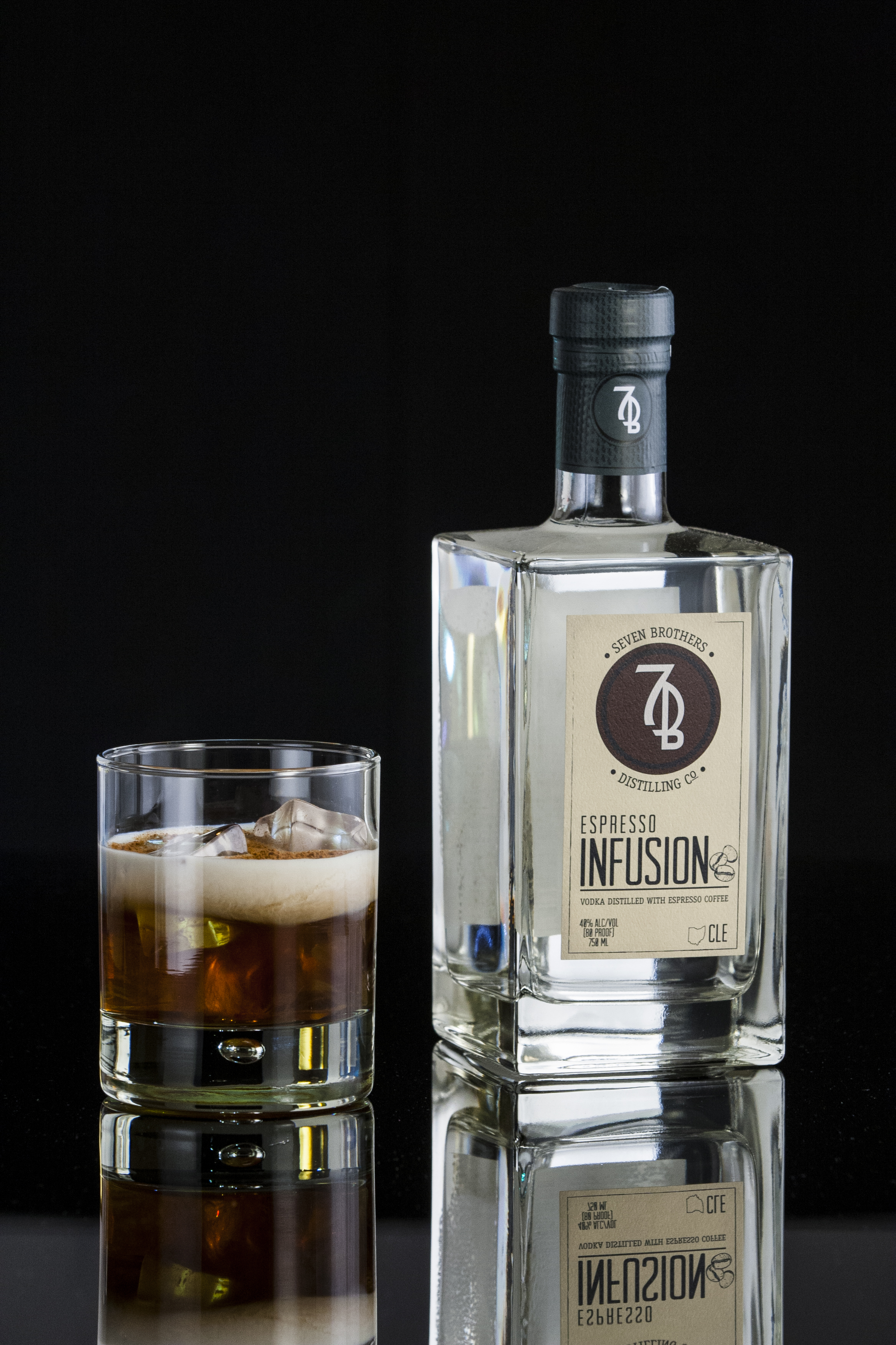 WHITE RUSSIAN - 2 oz Seven Brothers Espresso Infusion1 oz Coffee Liqueur (Kahlua)Splash of Heavy CreamCombine vodka and coffee liqueur and stir briefly over ice into a Rocks glass. Top with heavy cream and grated cinnamon.