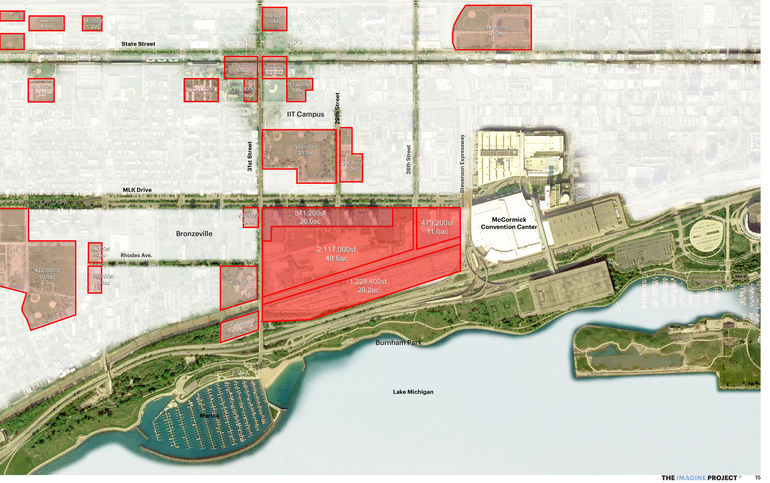 Diagram of the Michael Reese Site as well as well as potential future development locations. The map shows the size of each lot by square foot and acre.