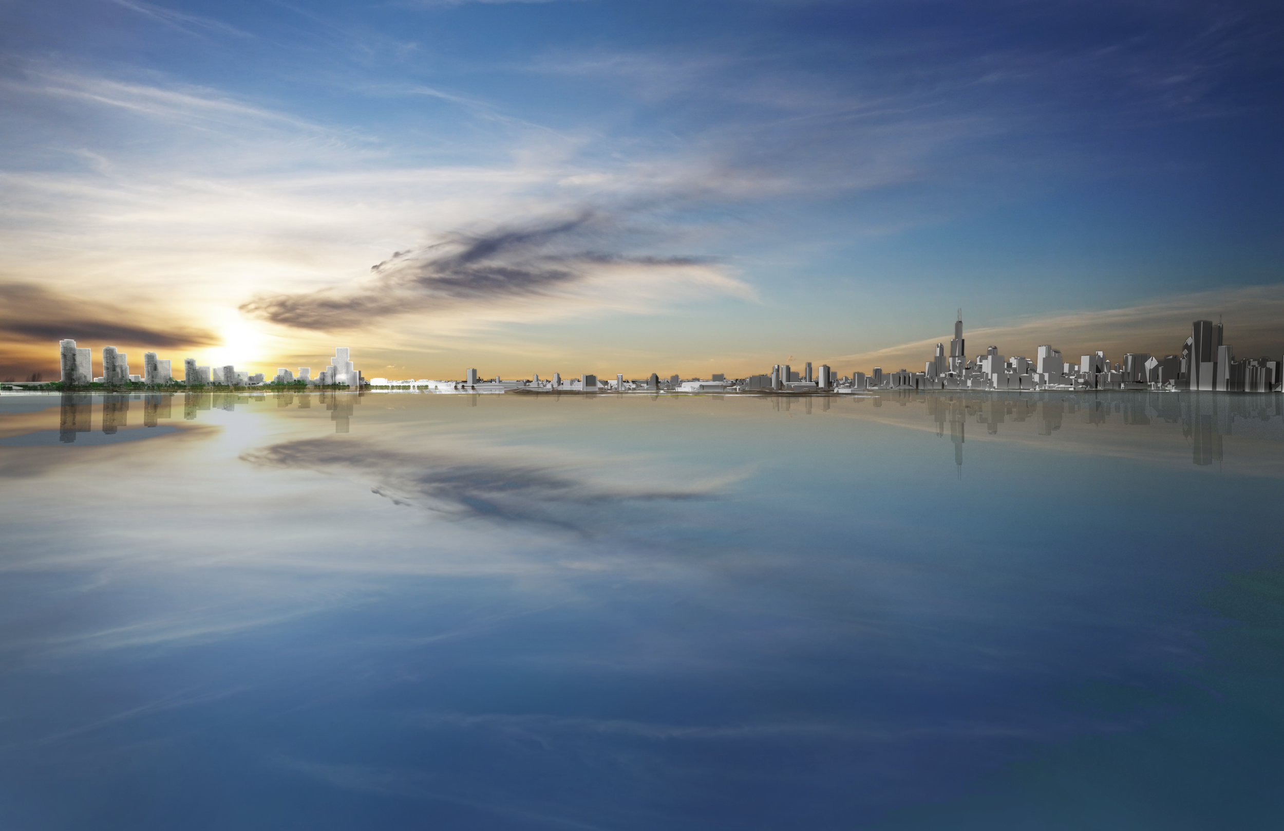 The Chicago skyline with the Imagine Project.