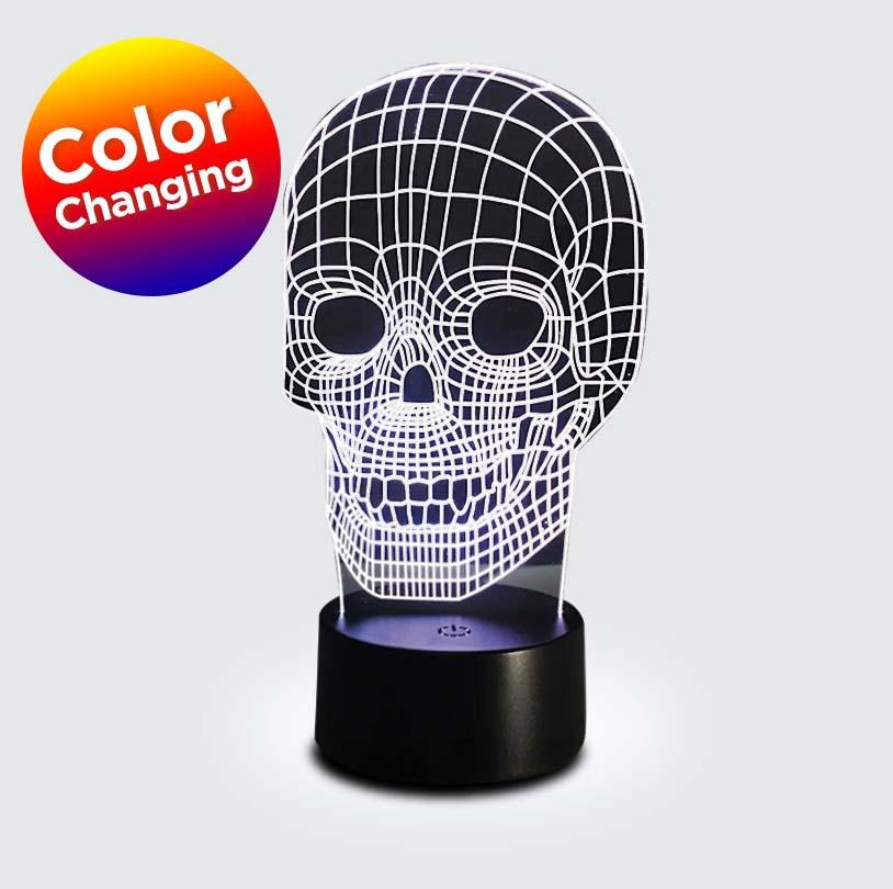 3D Edge Lit Skull - V6254