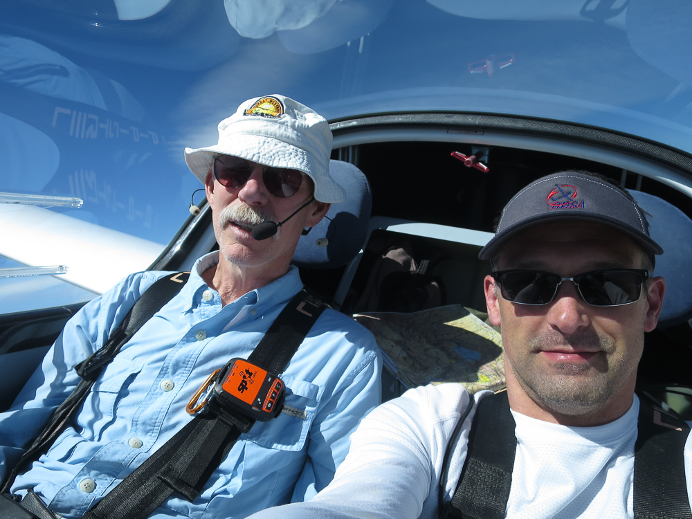 Former member Kevin Shaw and Todd Hahn in Kevin's Pipistrel Taurus in Minden, NV, 2018