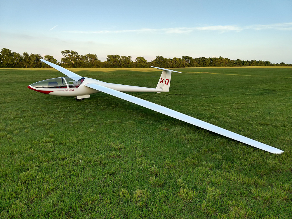 "The glider ""KQ"" before a Region 10 contest in 2018"