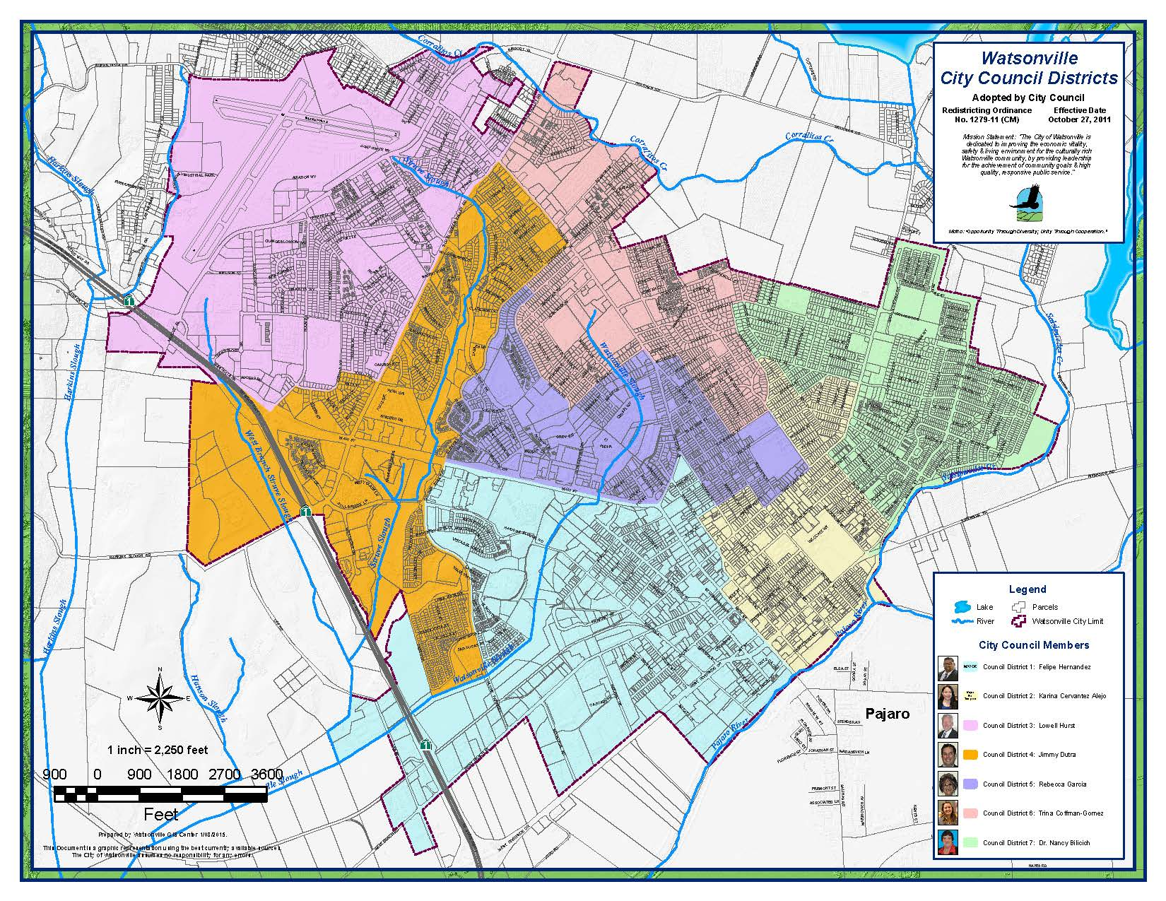 Redistricting map for the city of Watsonville, CA, one of the first in the state to legally strike down at-large elections.