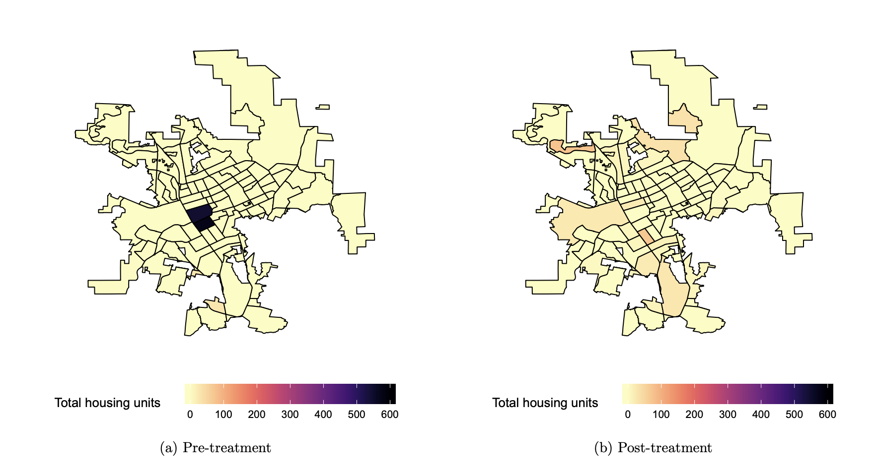 In Escondido, CA, the spatial distribution of new housing approved for construction went from being concentrated in one neighborhood before the reform to being spread equitably across the city afterward.