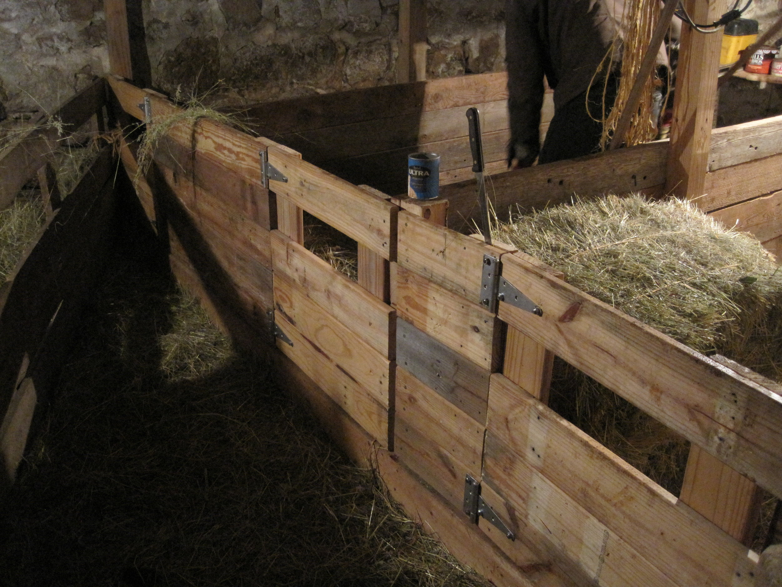 New gates, pen walls and posts, all constructed of salvaged lumber.