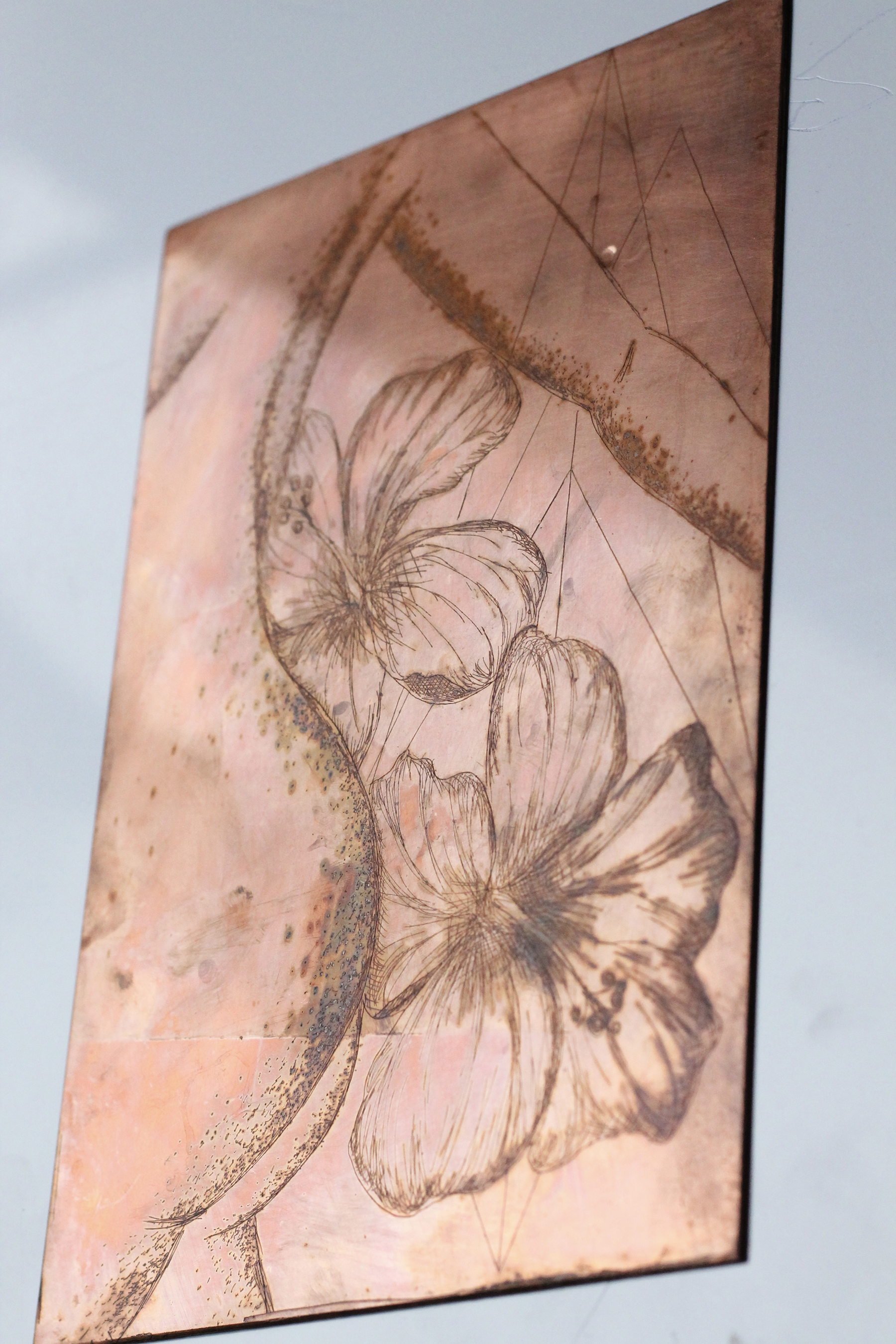 Etched copper plate for intaglio printing.