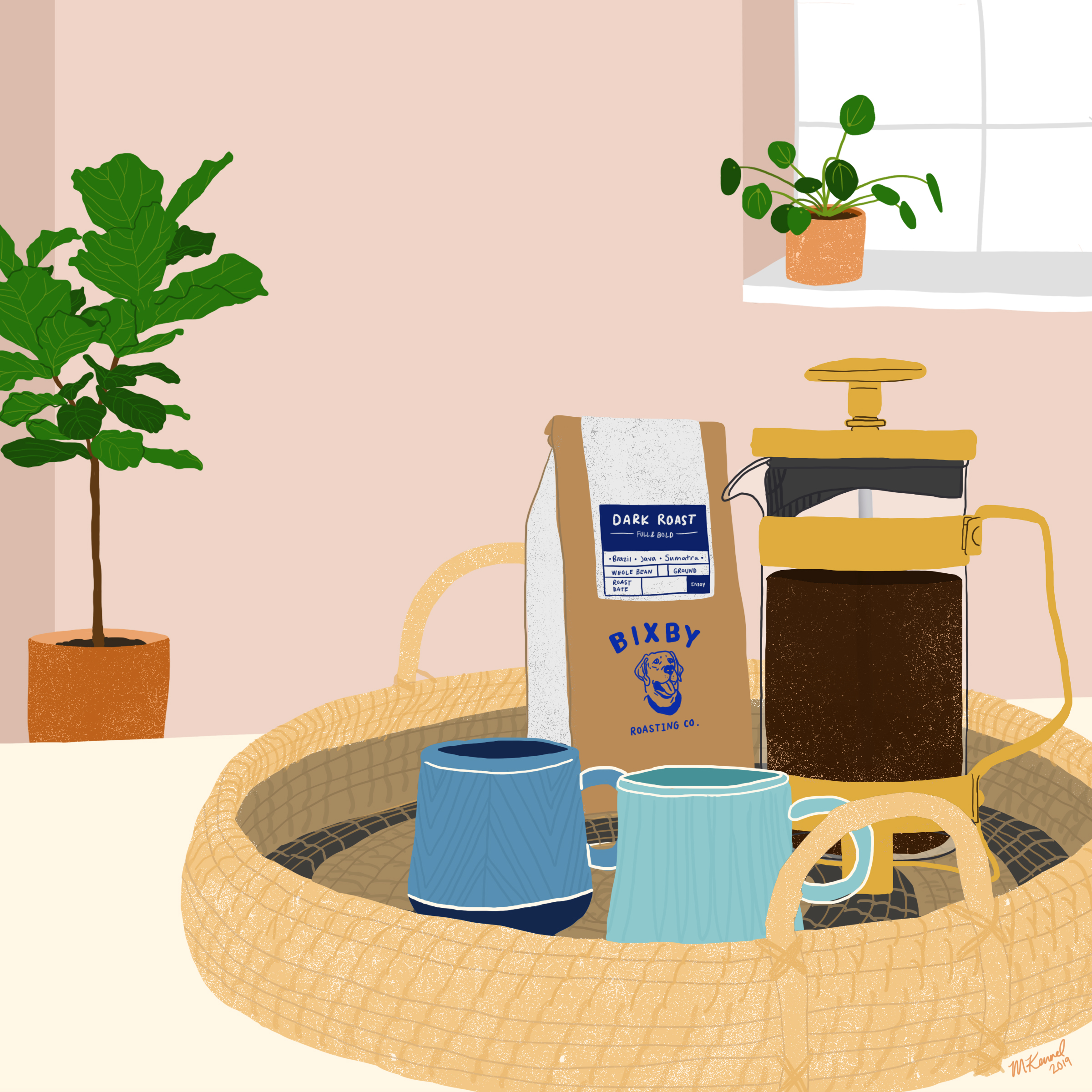 Digital illustration for Bixby Coffee. 2019.