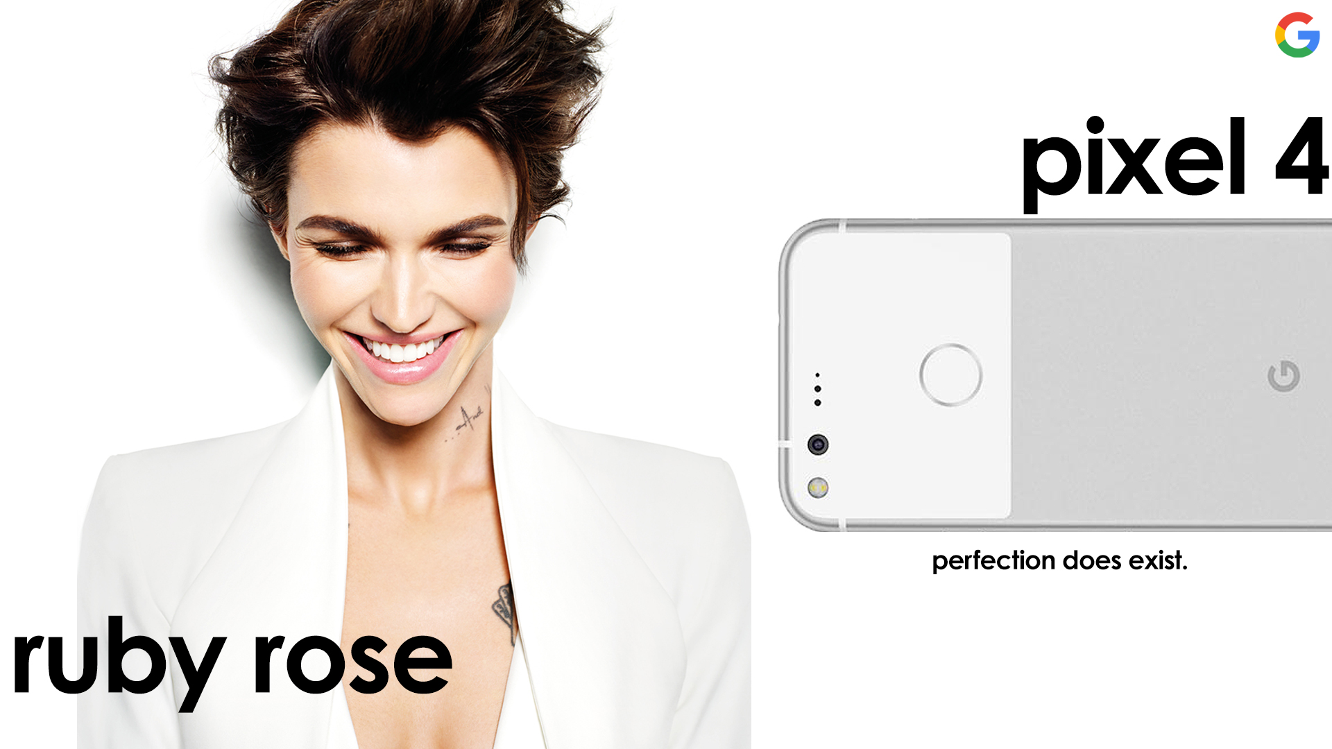 Mock up for Ruby Rose x Google Pixel Brand Endorsement. 2019.