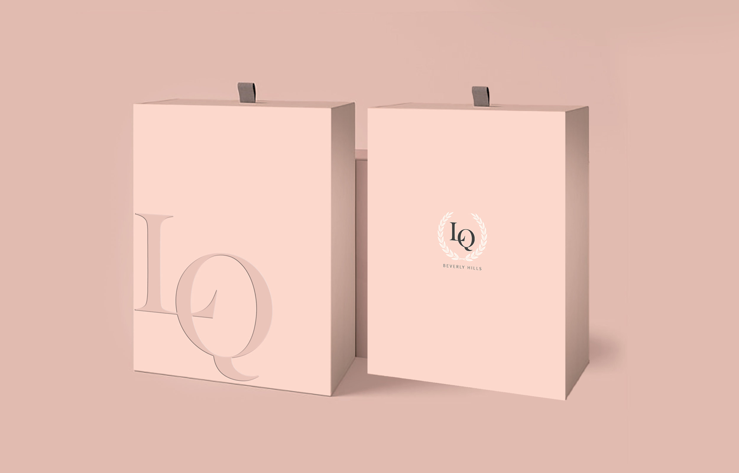 Logo and packaging design mock up for LQ Beverly Hills. 2019.