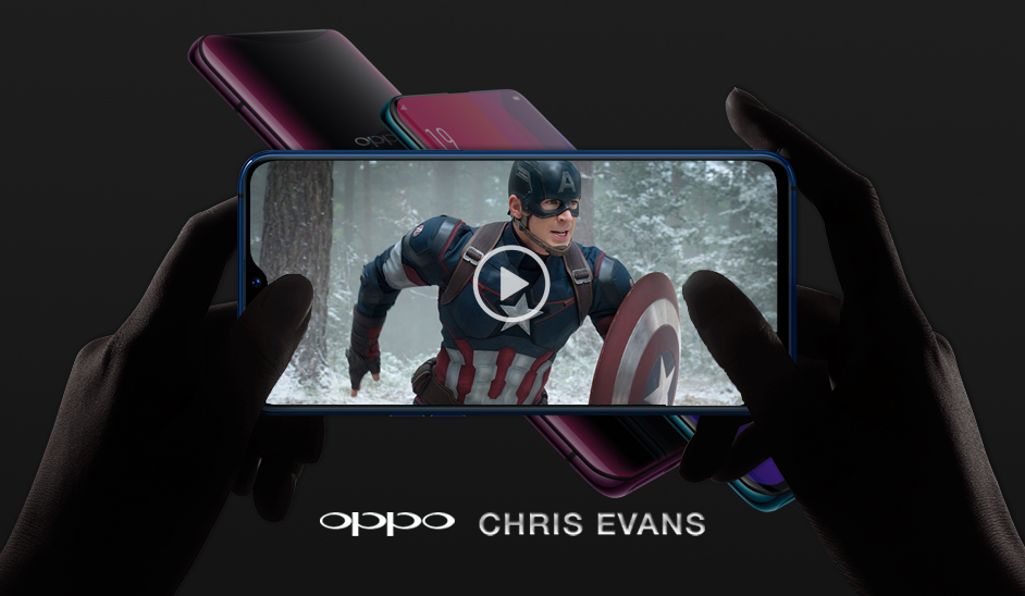 Mock up for Chris Evans x Oppo Brand Endorsement. 2019.
