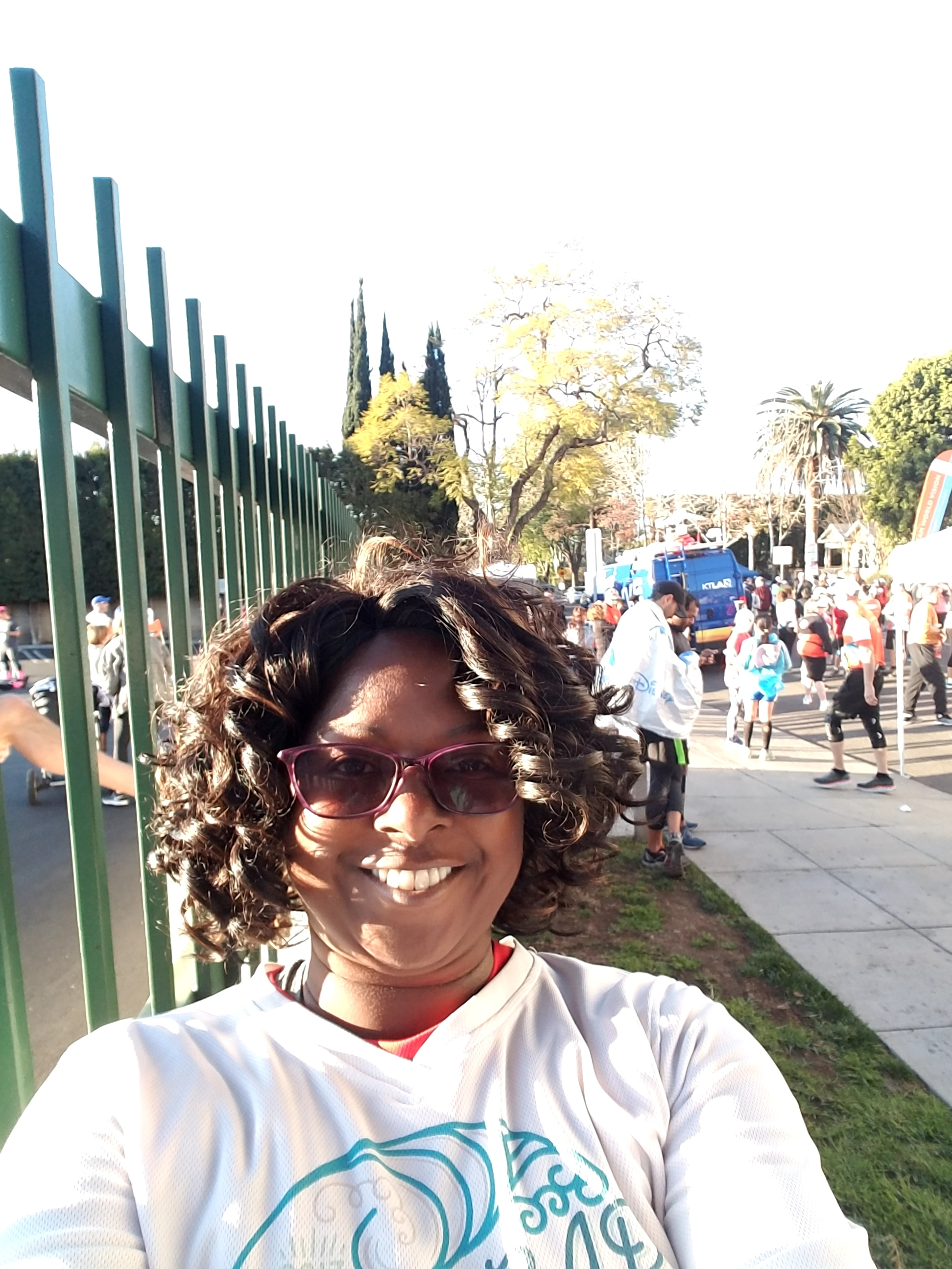 Me (Rahbin Shyne) and other half-marathoners warming up, waiting to join the LA Marathon at the half-way point in West Hollywood.
