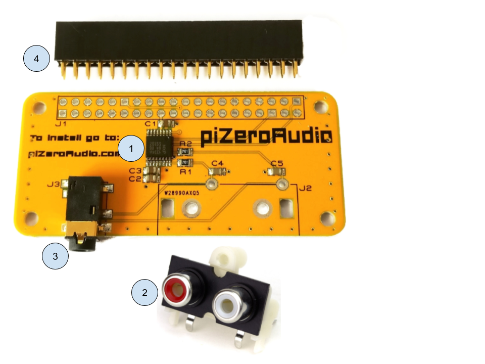- 1- DAC I2s 24-bit audio with studio sampling quality2- Included dual RCA phono connector line out stereo (soldering required)3- Line out stereo jack 3.5mm4- Female header 2x20 (soldering required)Compatible with Raspberry Pi 3, 2, B+, A+, and Zero
