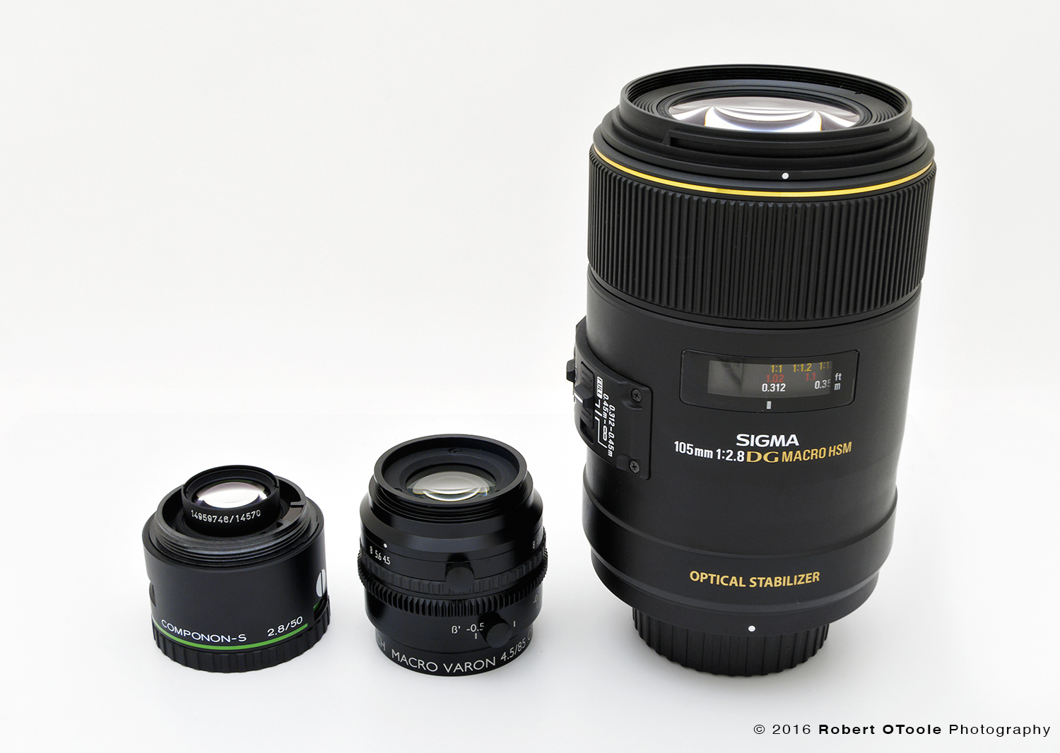 Schneider Componon-S, 50mm enlarging lens, Macro Varon, and Sigma 105mm OS Macro lens on the right.