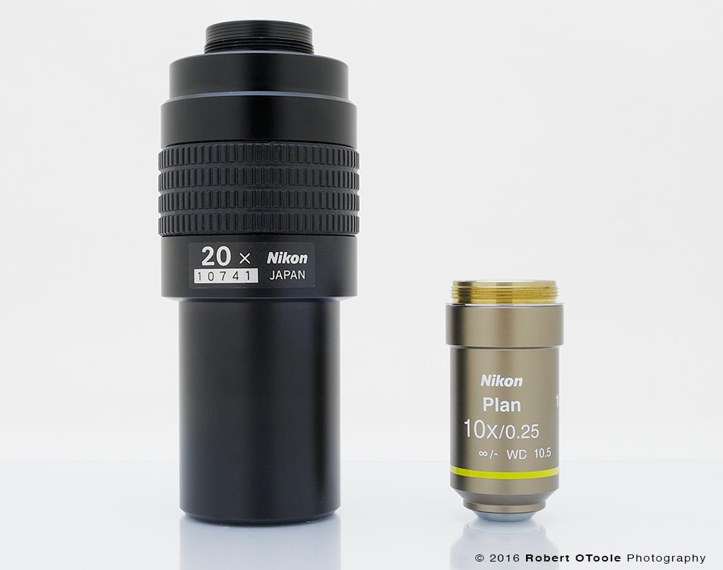 Nikon MM 20X next to a normal sized Nikon CFI Plan 10X.0.25 for scale