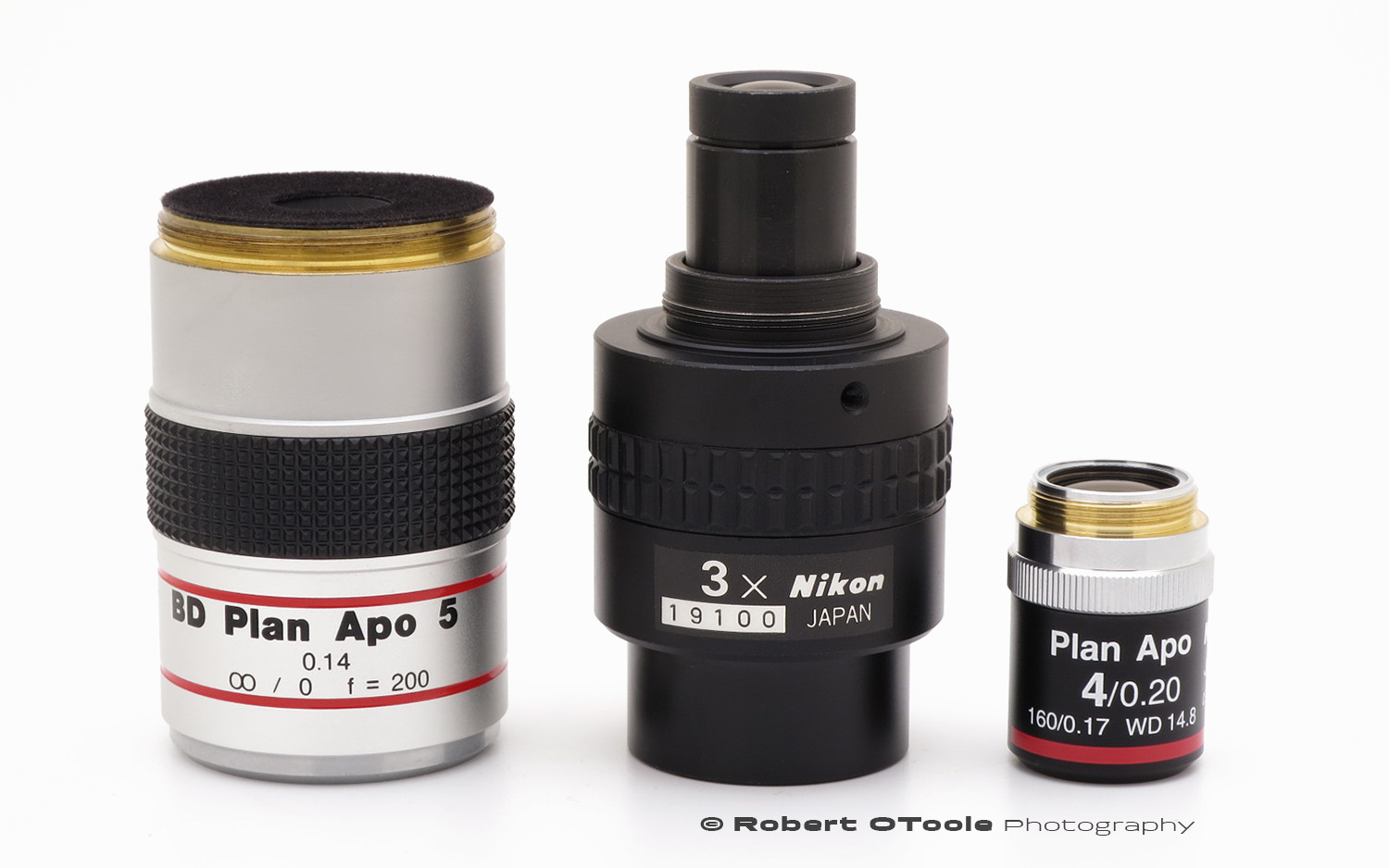 The Mitutoyo BD Plan APO 5X, Nikon EDF20030 Toolmakers 3X objective, and Nikon Plan APO 4X 0.20 finite objective.