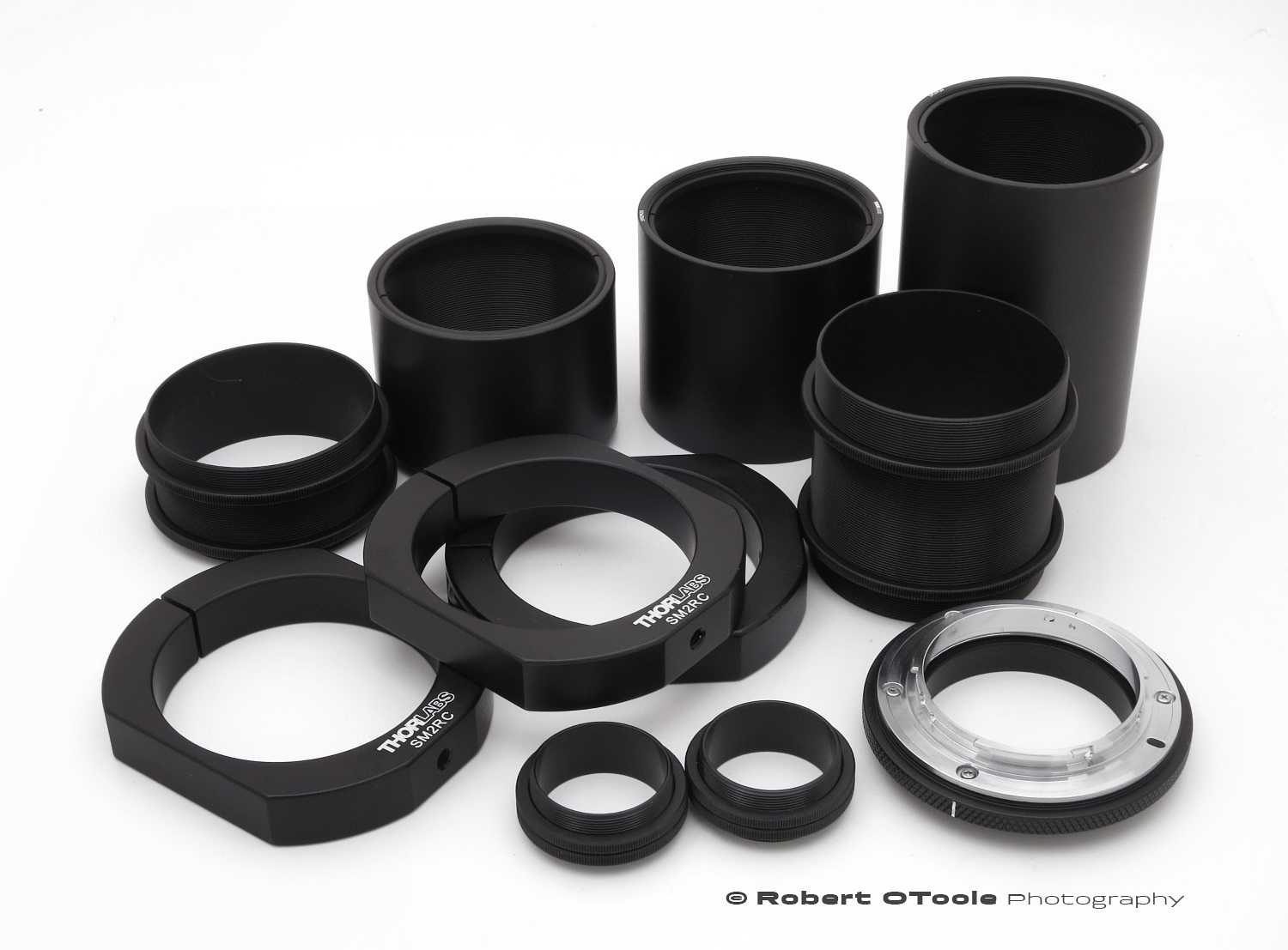 Thorlabs SM2 Tube System parts including the SM2NFM2 Nikon F-Mount adapter.