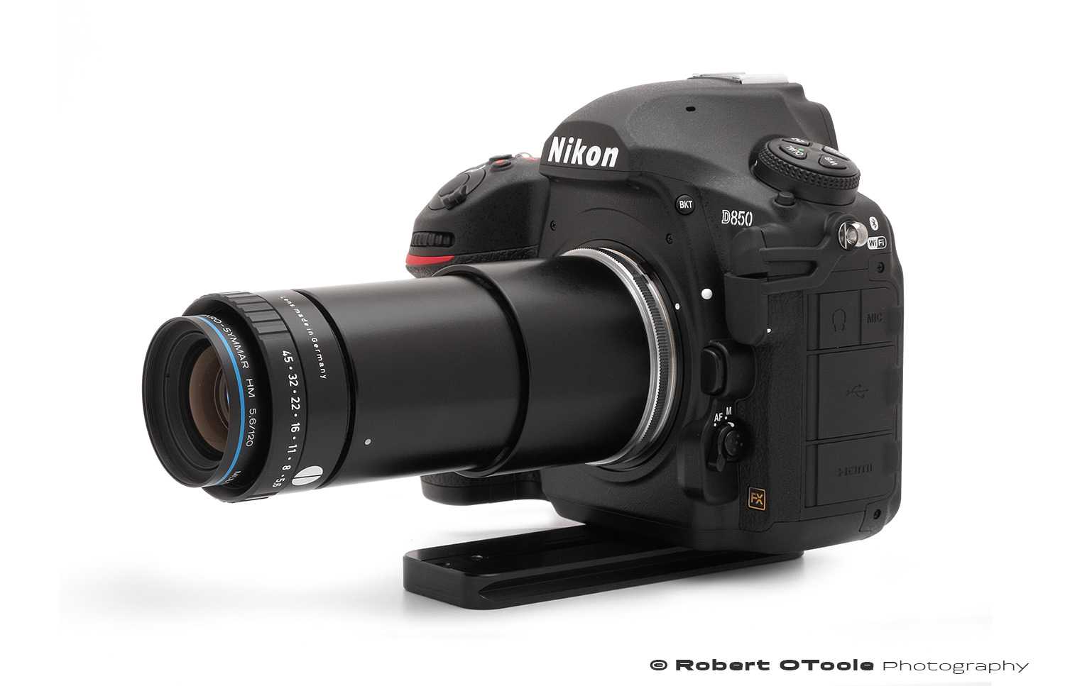 Makro-Symmar 120mm mounted on a D850 with a M32.5 x 0.5 adapter and 42mm extension tube mounted to a 52mm extension tube with a Nikon BR-2A mount adapter.