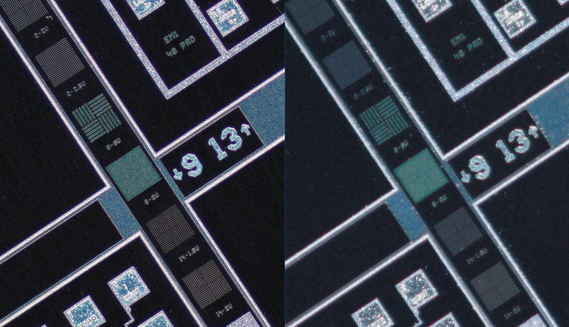 Nikon CFI Super Fluor 4X vs Canon MP-E 65mm 1-5x Lens, center of the frame, 100% crop.Clicking on an image will open a larger version.
