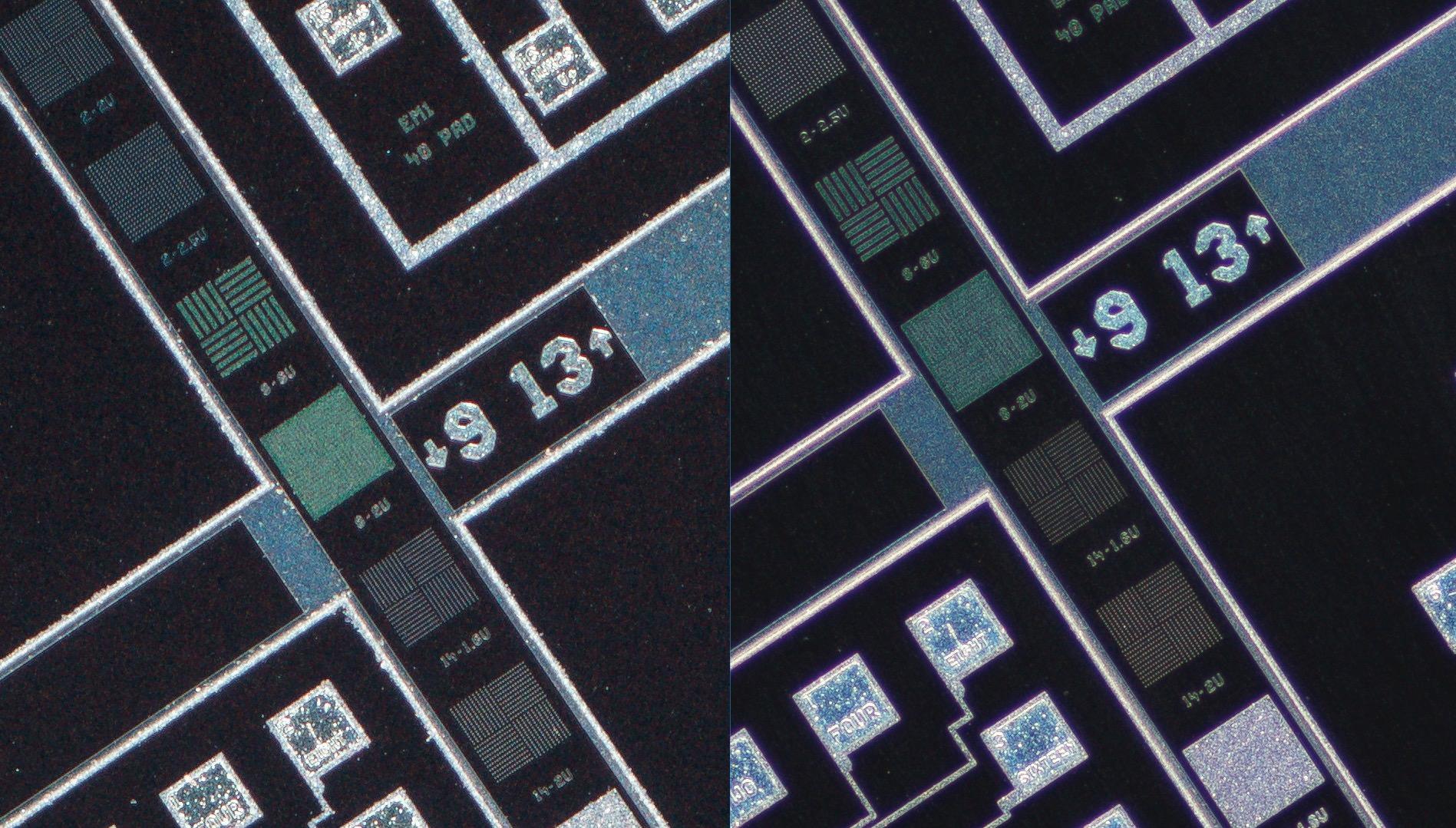 Lomo 3.7x 0.11   Microscope Objective vs Nikon CFI Plan Fluor 4X/0.13 Microscope Objective vs 100% center crop.Clicking on an image will open a larger version.