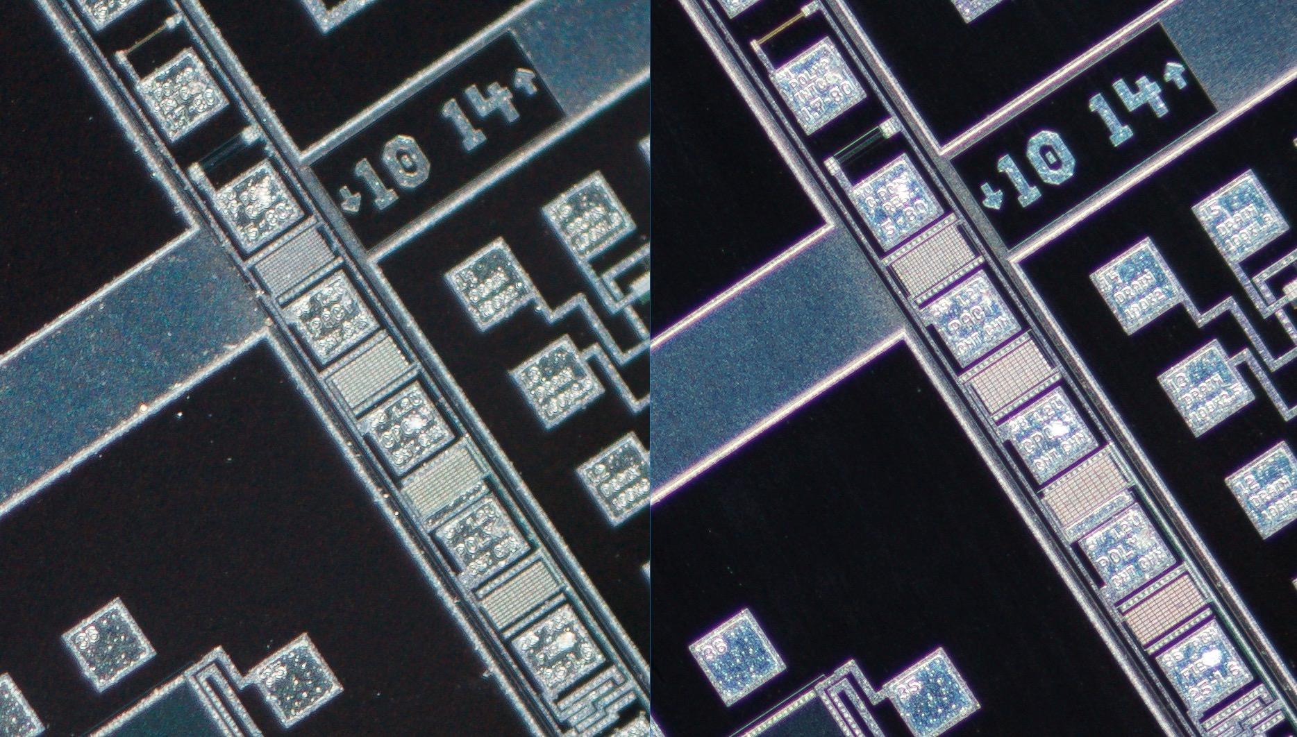 Lomo 3.7x 0.11   Microscope Objective vs   Nikon CFI Plan Fluor 4X/0.13 Microscope Objective vs 100% corner crop.Clicking on an image will open a larger version.