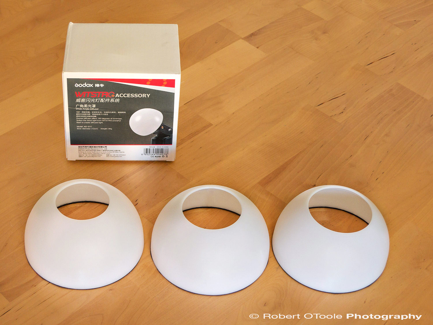 Godox AD S17 Wide Angle Soft Focus Shade Diffuser, with 2.25 inch, 2.5 inch, and 3 inch openings. The bottom edge has a felt-like flocking material added.