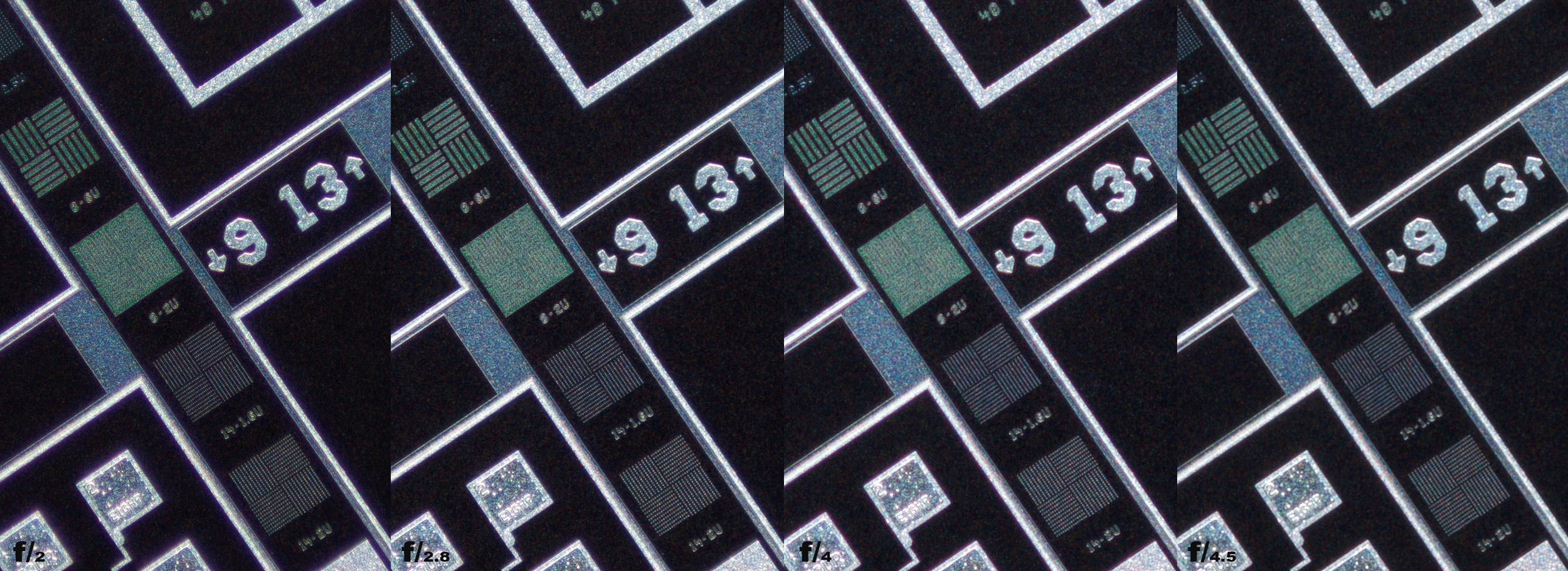 Schneider Kreuznach 28mm f/2 Xenon 100% center crops from f/2 to f/4.5