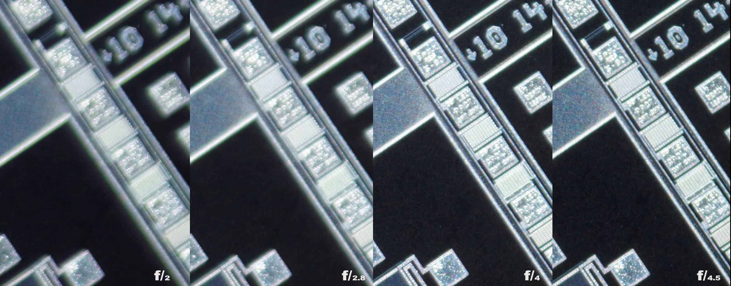 Schneider Kreuznach 28mm f/2 Xenon 100% corner crops from f/2 to f/4.5