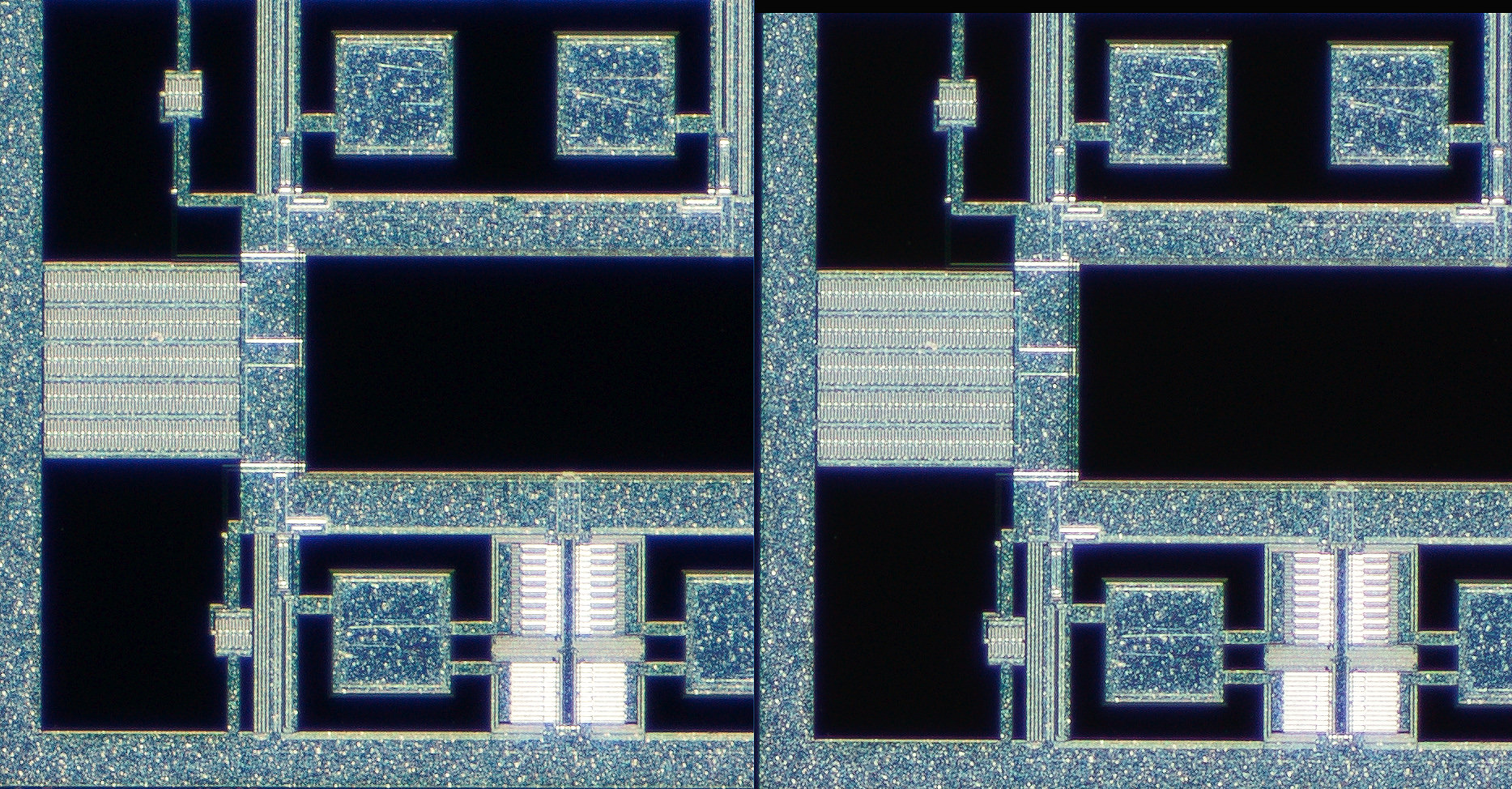 100% actual pixel off center crop with the Nikon Measuring Microscope 5x on the left and the 5xA on the right. Click on the image to see the full size version in a new window.