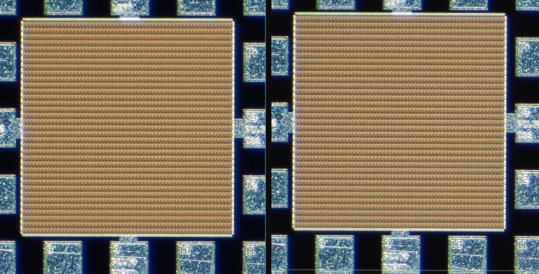100% actual pixel far corner crop with the Nikon Measuring Microscope 5x on the left and the 5xA on the right. Click on the image to see the full size version in a new window.