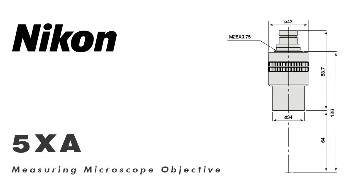 Nikon 5XA measuring microscope objective lens