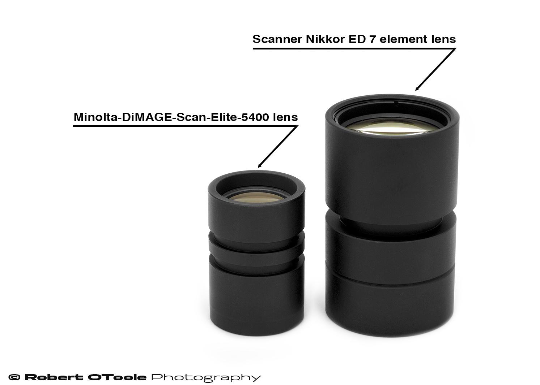 Minolta DiMAGE Scan Elite 5400 scanner lens and Scanner Nikkor ED 7 element lens