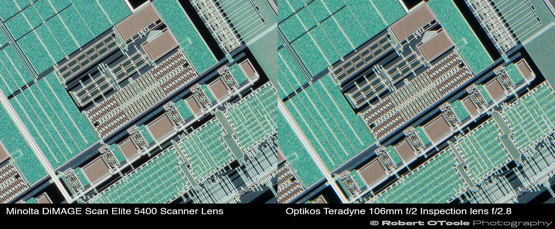 Minolta-DiMAGE-Scan-Elite-5400-Scanner-Lens-vs-Optikos-Teradyne-106mm-f2-Inspection-lens-at-2.25x-edge-crops-Robert-OToole-Photography.JPG
