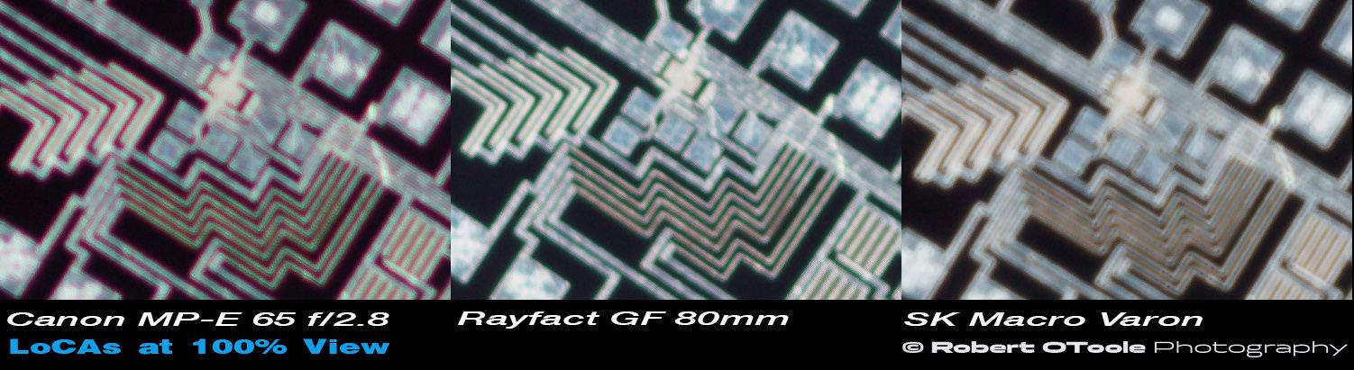 LoCA crop examples, L-R, Canon MP-E 65mm f/2.8 macro lens, Rayfact GF 80mm f/4, and Schneider Macro Varon 85mm CAS lens.