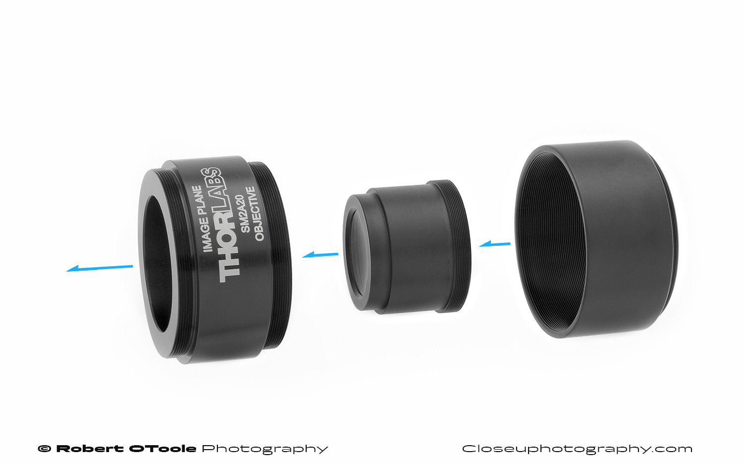 Thorlabs SM2A20 tube lens adapter, ITL200 tube lens, and SM2 extension tube.