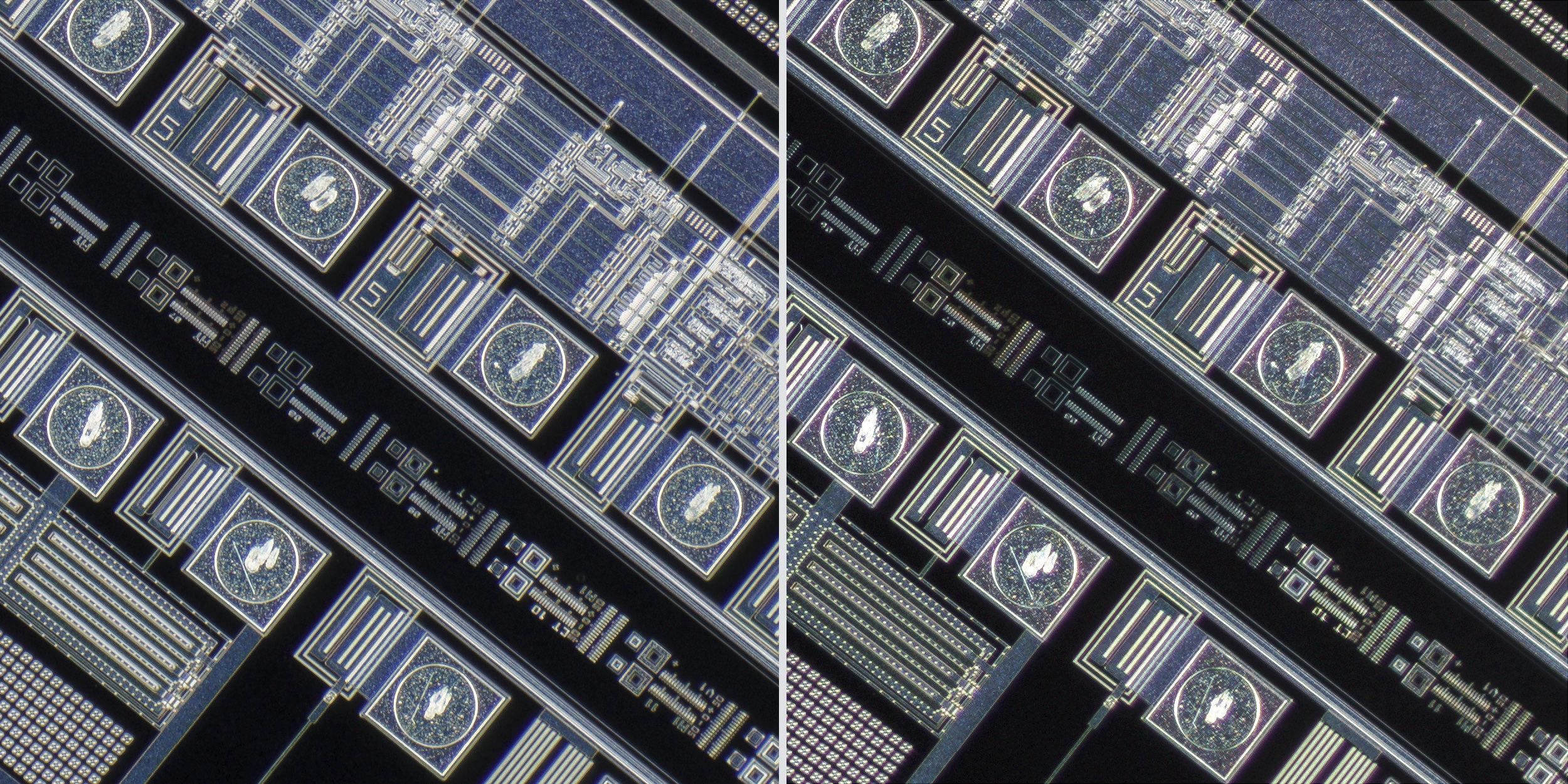 Mitutoyo M Plan Apo 5X 0.14 objective vs Sigma 150 f2.8 OS + Xenon 28mm f2 Line Scan Lens 100% Corner Crops