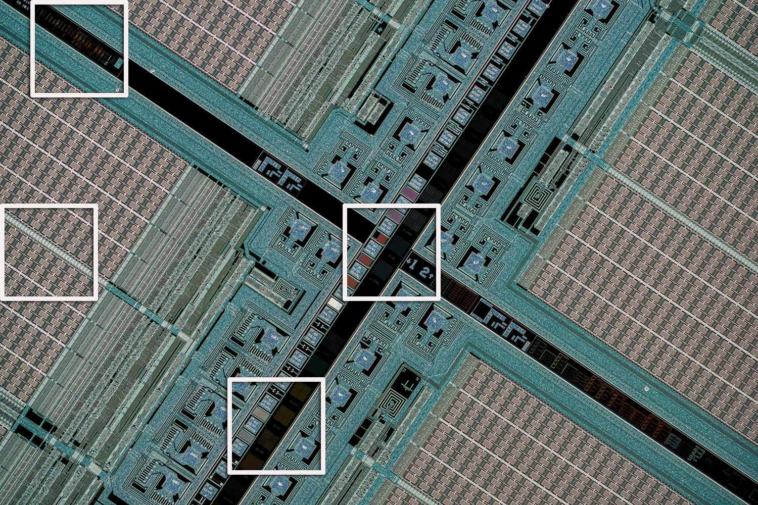 Silicon wafer test target with crop areas outlined in white.